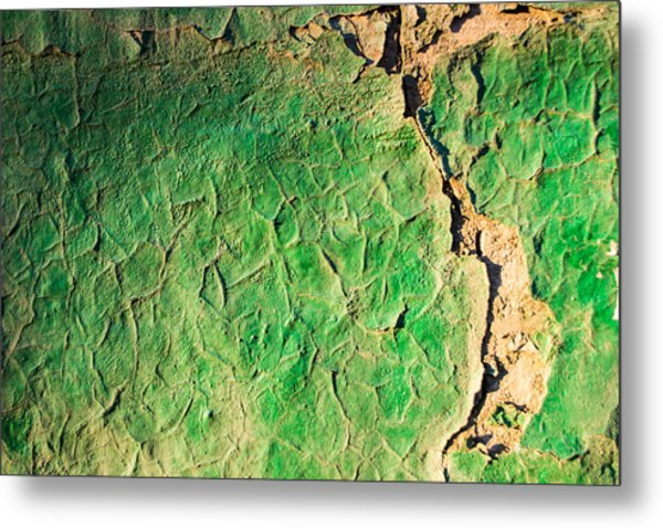 Green Flaking Brickwork Metal Print