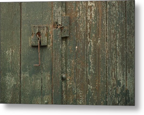 Green Garage Door Metal Print