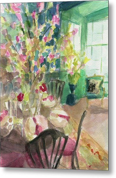 Green Interior With Cherry Blossoms Metal Print