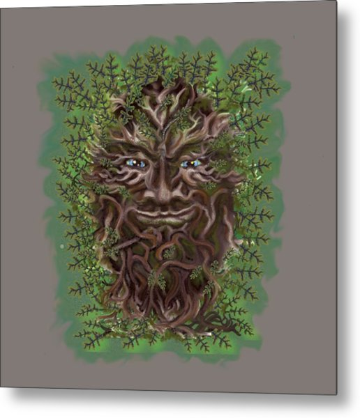 Metal Print featuring the painting Green Man Of The Forest by Thomas Lupari