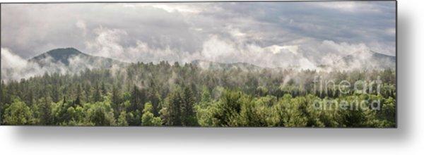 Green Mountains Fog Panoramic Metal Print