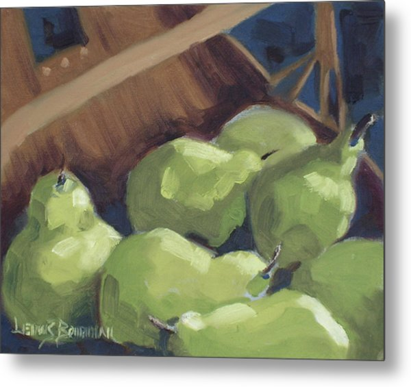 Green Pears Metal Print