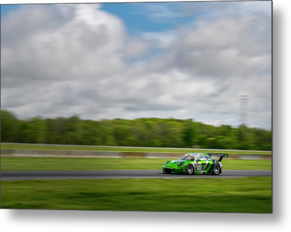 Green Porsche Racing At The Track Metal Print