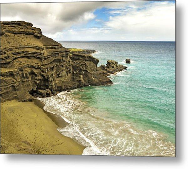 Green Sand Beach On Hawaii Metal Print by Brendan Reals