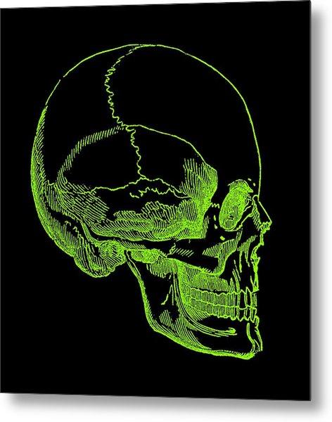 Metal Print featuring the digital art Green Skull by Jennifer Hotai