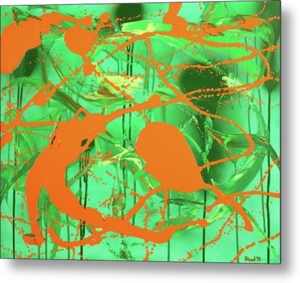 Green Spill Metal Print