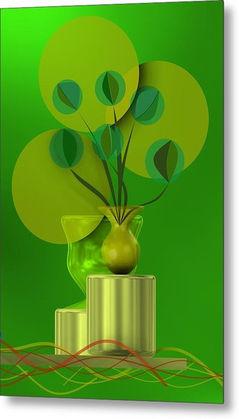 Metal Print featuring the digital art Green Still Life With Abstract Flowers, by Alberto RuiZ