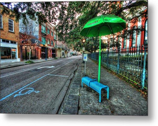 Green Umbrella Bus Stop Metal Print