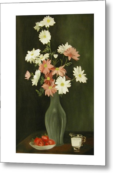 Green Vase With Flowers Metal Print by Angelo Thomas