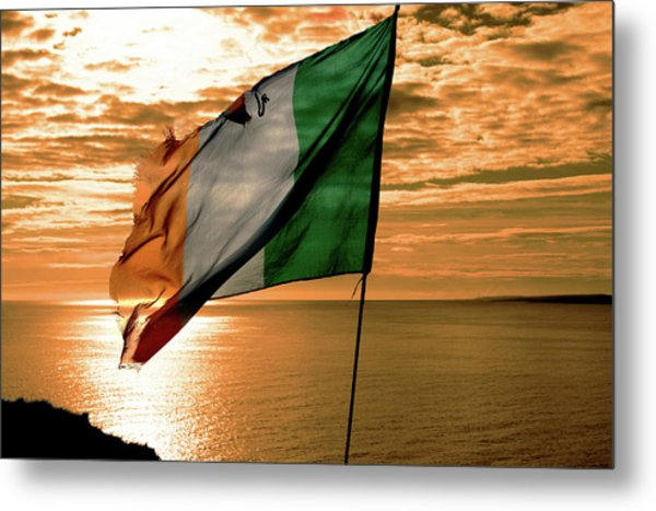 Flag Of Ireland At The Cliffs Of Moher Metal Print