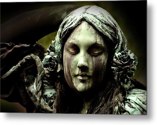 Green Woman A Portrait Metal Print