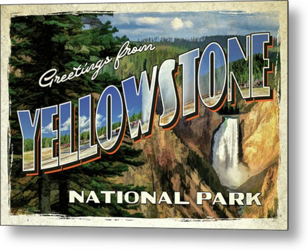 Metal Print featuring the painting Greetings From Yellowstone National Park by Christopher Arndt