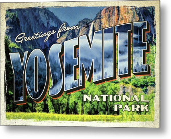 Metal Print featuring the painting Greetings From Yosemite National Park by Christopher Arndt