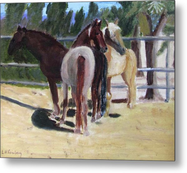 Metal Print featuring the painting Gregory And His Mares by Linda Feinberg