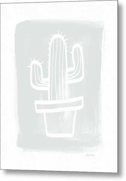 Grey And White Cactus- Art By Linda Woods Metal Print