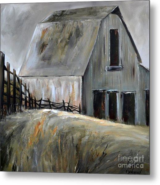 Grey Barn Metal Print