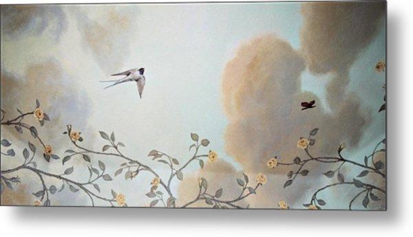 Grey Cloudy Flight By Dove Metal Print
