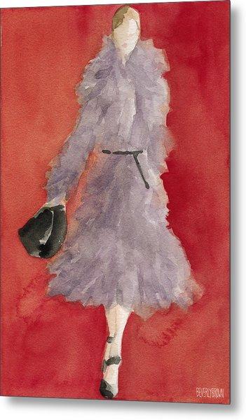 Grey Coat - Watercolor Fashion Illustration Metal Print