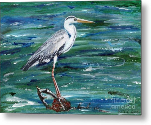 Grey Heron Of Cornwall -painting Metal Print
