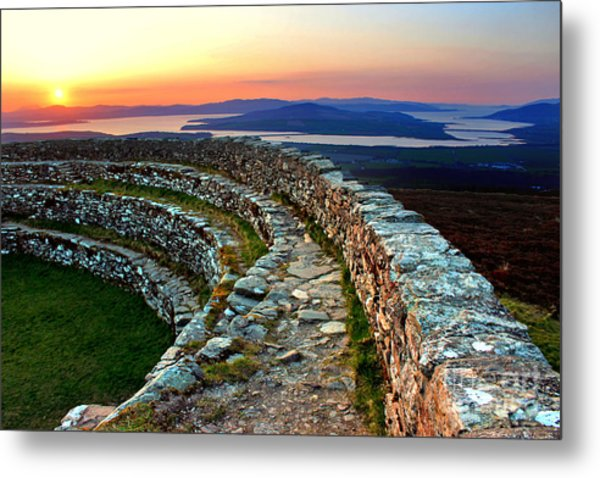 Grianan Fort Sunset Metal Print