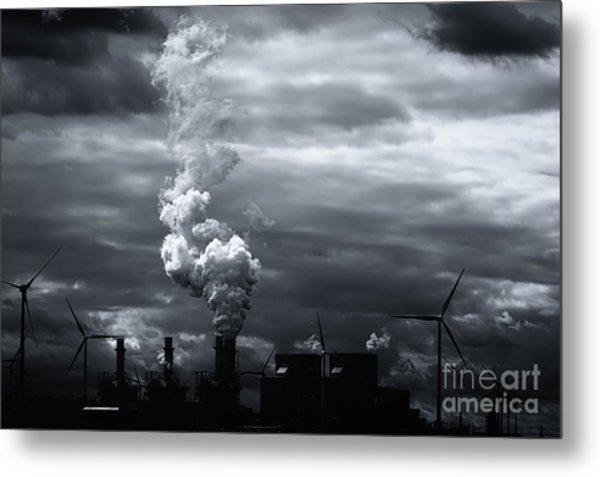 Grim Black White Energy Landscape Metal Print