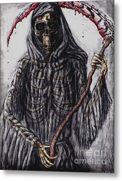 Grim Reaper Colored Metal Print by Katie Alfonsi