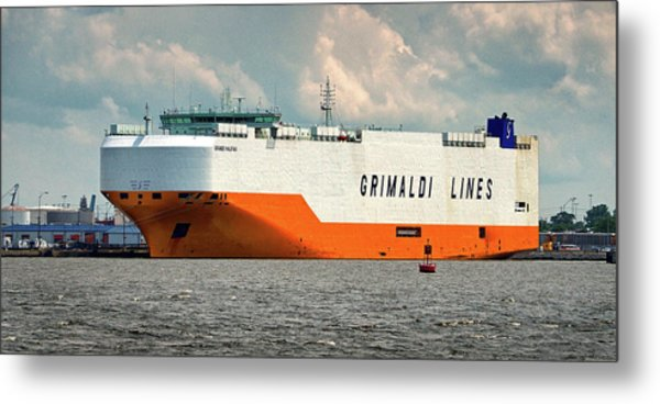 Metal Print featuring the photograph Grimaldi Lines Grande Halifax 9784051 At Curtis Bay by Bill Swartwout Fine Art Photography
