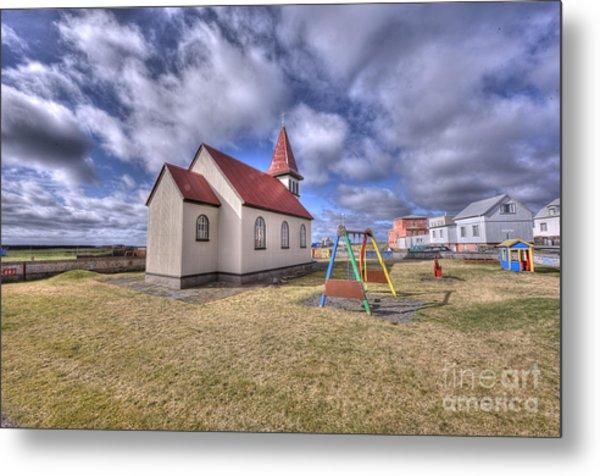 Grindavik Church Iceland Enhancer Metal Print