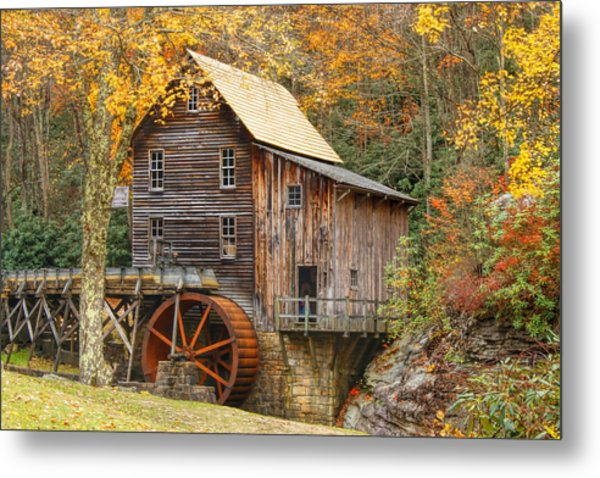 Grist Mill In Autumn Hues Metal Print
