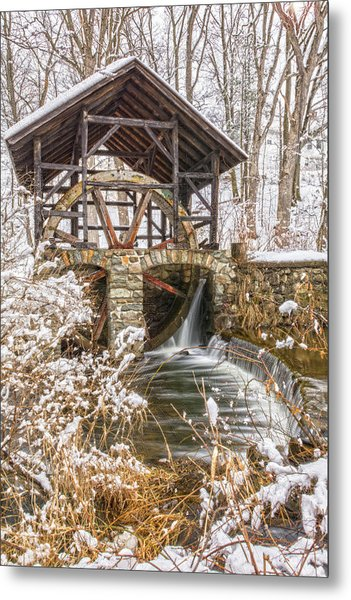 Grist Mill In Fresh Snow Metal Print