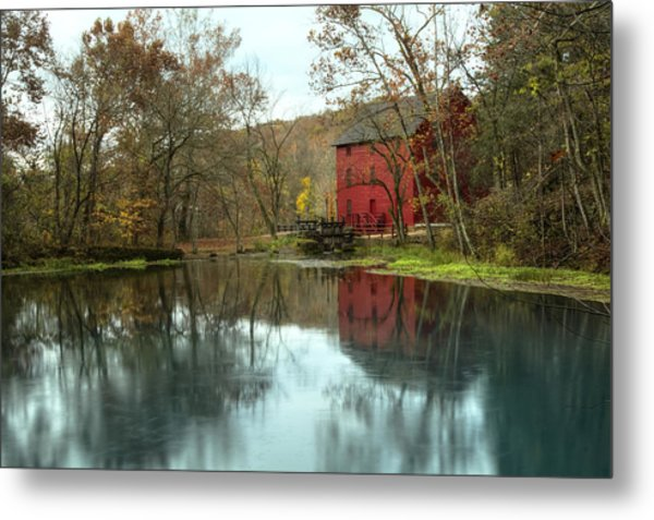 Grist Mill Wreflections Metal Print