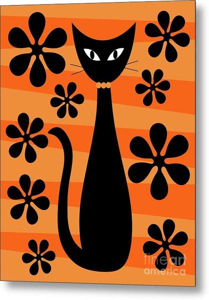 Groovy Flowers With Cat Orange And Light Orange Metal Print