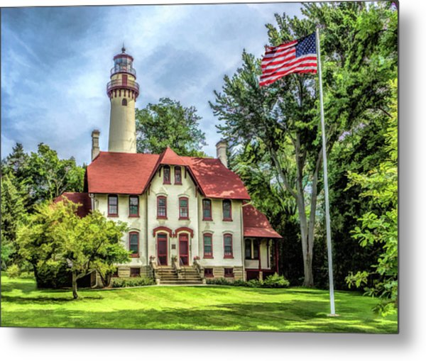 Metal Print featuring the painting Grosse Point Lighthouse by Christopher Arndt