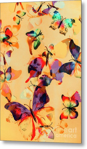 Group Of Butterflies With Colorful Wings Metal Print