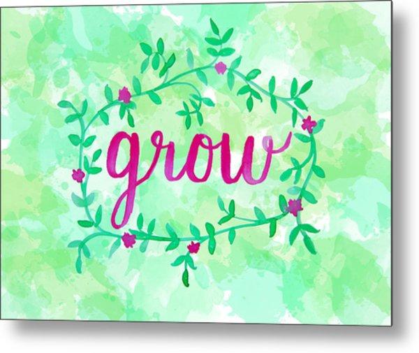 Grow Watercolor Metal Print