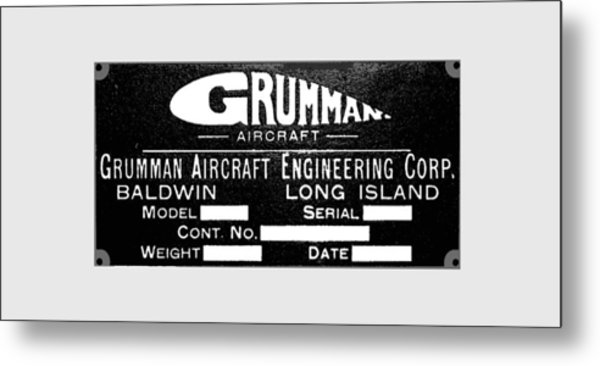 Grumman Product Plate Metal Print