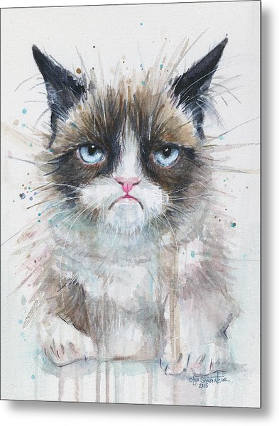 Grumpy Cat Watercolor Painting  Metal Print