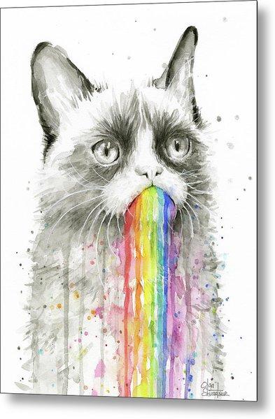 Grumpy Rainbow Cat Metal Print