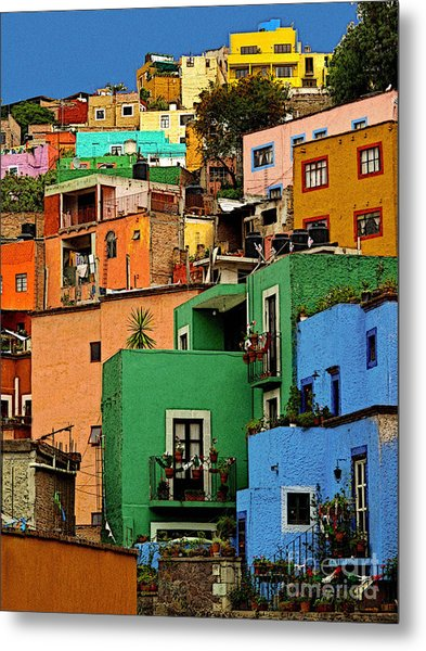 Guanajuato Hillside 2 Metal Print by Mexicolors Art Photography