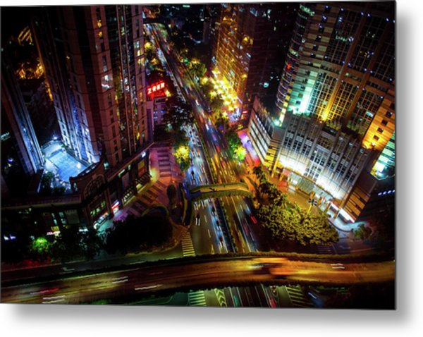 Metal Print featuring the photograph Guangzhou City Streets At Night by Geoffrey Lewis
