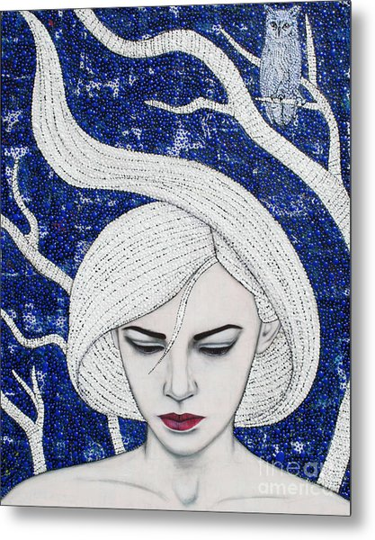 Metal Print featuring the mixed media Guardian Of The Night by Natalie Briney