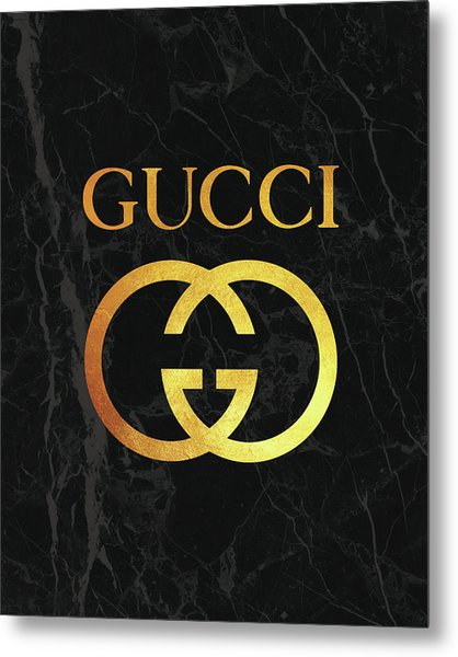 Gucci - Black And Gold - Lifestyle And Fashion Metal Print