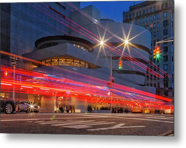 Metal Print featuring the photograph Guggenheim Museum Nyc Light Streaks by Susan Candelario