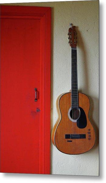 Guitar And Red Door Metal Print