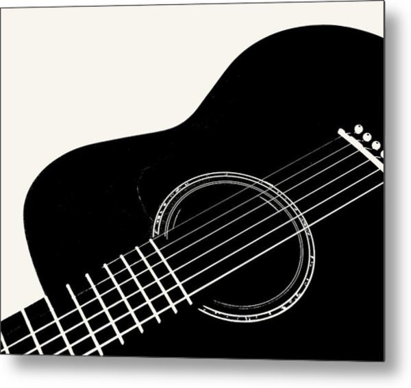 Guitar, Black And White,  Metal Print