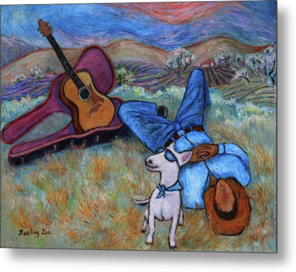 Guitar Doggy And Me In Wine Country Metal Print