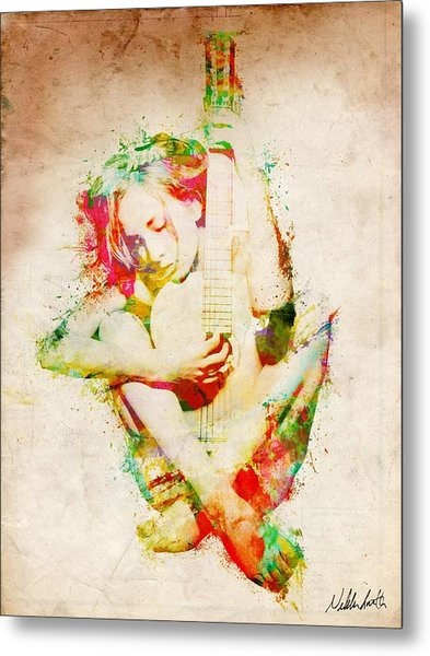 Metal Print featuring the digital art Guitar Lovers Embrace by Nikki Smith