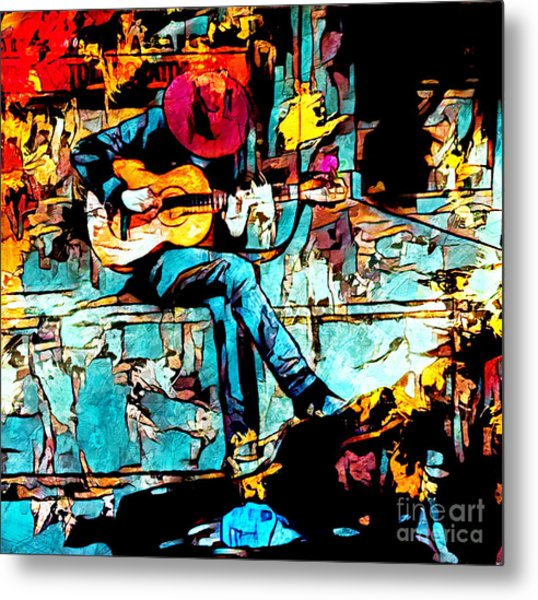 Metal Print featuring the mixed media Guitar Man  by Lita Kelley