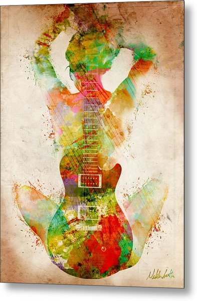 Metal Print featuring the digital art Guitar Siren by Nikki Smith