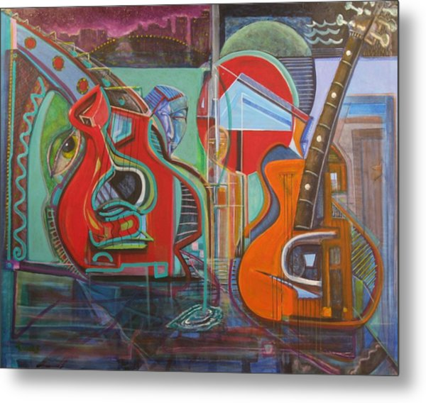 Guitars Mars And The Missing Human Stars Metal Print